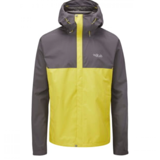 Mens Rab Downpour Eco Jkt Graphene/Zest